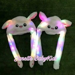Moving Ear LED Lamp White Bunny Hat