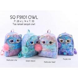Cute Owl Sparkle Flip Sequin Backpack