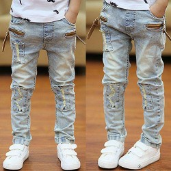 Washed Zipper Jeans