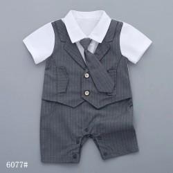 Grey Stripe Tie Romper