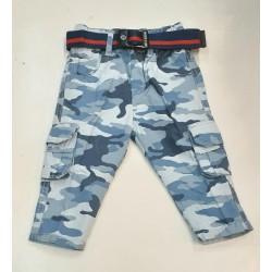 Blue Army Cargo Pants+ Belt