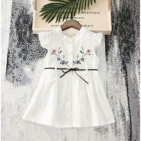 White 3D Flowers Dress+Belt