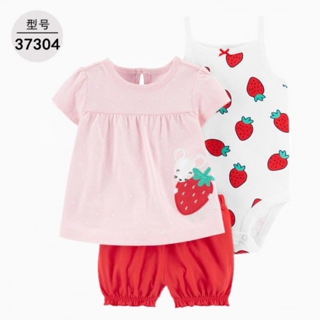 Carter's 3in1 Strawberry Jumper Top Set Pants