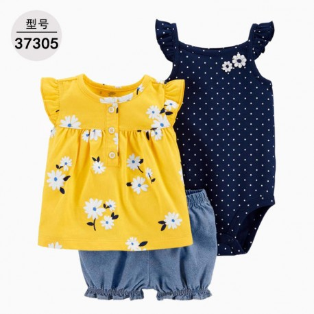 Carter's 3in1 Yellow Flowers Jumper Top Set Pants
