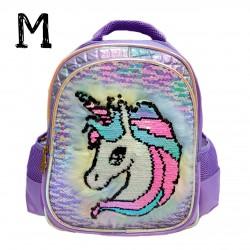 Purple Cute Unicorn Lamp Sequin Backpack