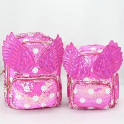 Hot Pink Wings Star Flip Sequin Backpack