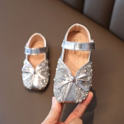 Sliver Ribbon Sparkly Square Shoes