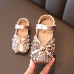 Gold Ribbon Sparkly Square Shoes