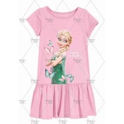 Pink Butterfly Frozen Dress