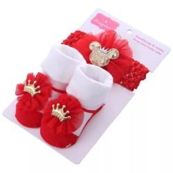 Red Minnie Crown Sequins Socks and Headband Set