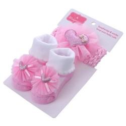 Pink Heart Glittered Sequins Socks and Headband Set