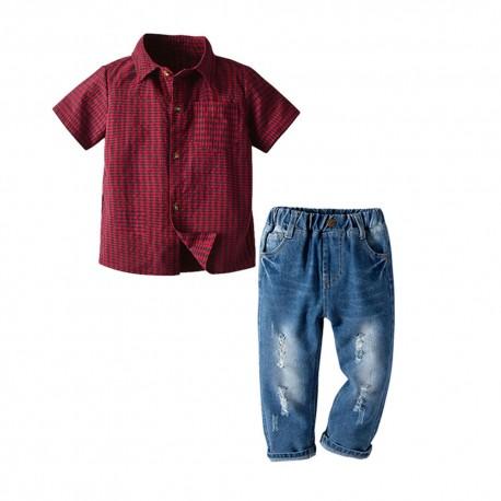 Red Plaid Shirt Set Jeans