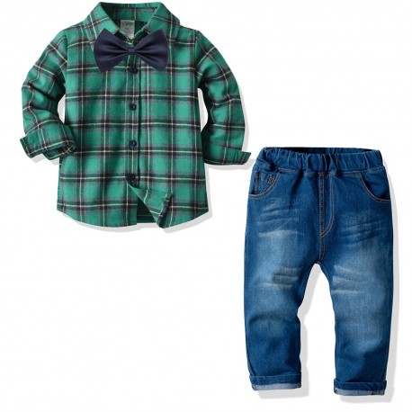 3in1 Green Plaid LS Shirt Set Tie Jeans