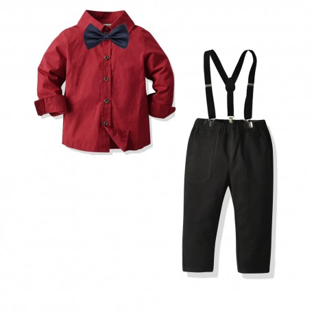 4in1 Red LS Shirt Set Tie Suspender Pants