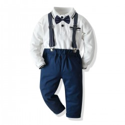 4in1 White LS Polo Shirt Set Tie Suspender Pants