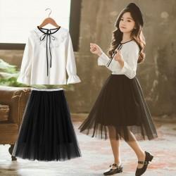 White Ruffle Top Set Black Tutu Skirt