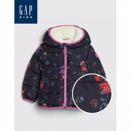 Gap Navy Flowers Puffer Jackets