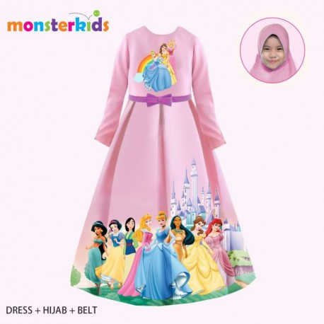 MK Pink Princess Gamis+Hijab+Belt