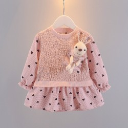 Pink Heart Bunny Doll Dress