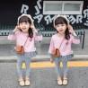 Pink Flowers Tartan Ruffle Top Set Legging