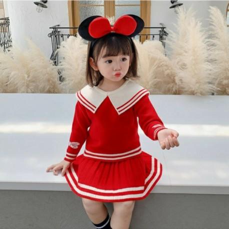 Red Knitted Stripe Set Skirt