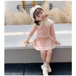 Pink Knitted Stripe Set Skirt