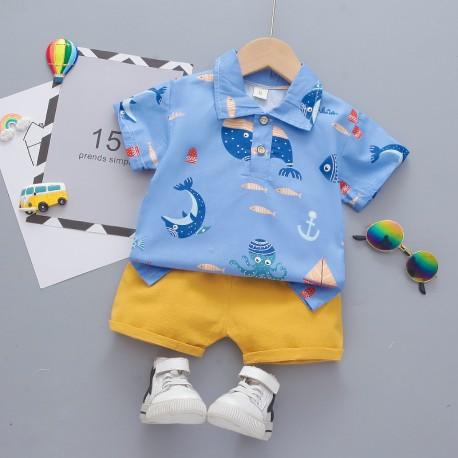Blue Ocean Shirt Set Pants