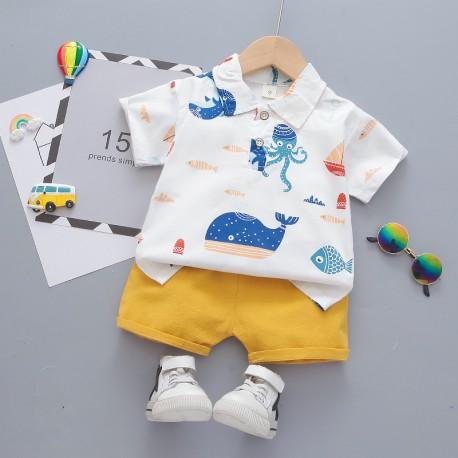 White Ocean Shirt Set Pants