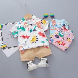 White Colorful Dino Shirt Set Pants