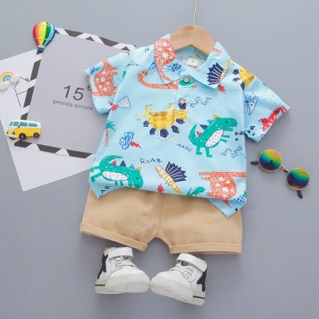 Blue Colorful Dino Shirt Set Pants