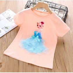 Peach Elsa Frozen 3D Tulle Top