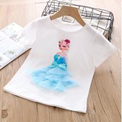 White Elsa Frozen 3D Tulle Top