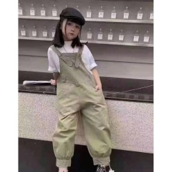 Olive Overall Set White Top