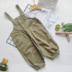 Beige Overall Set White Top