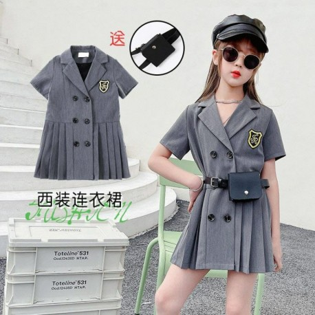Korean Style Grey Dress with Leather Belt