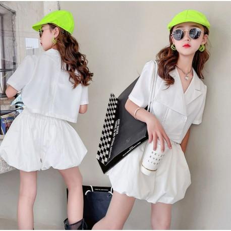 Korean Style White Top Set Puffy Pants