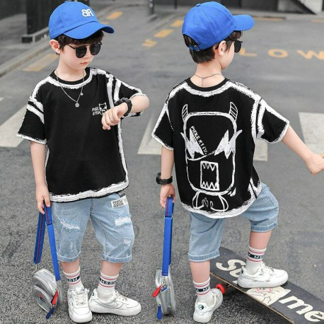 Black Monster Tee Set Ripped Jeans