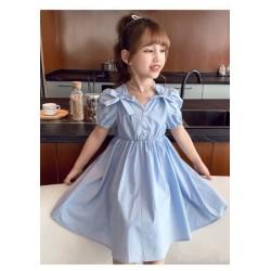 Blue Ribbon Puffy  Shoulder Dress