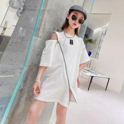 Korean Style White Zipper Dress