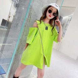 Korean Style Neon Zipper Dress