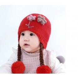 Red Baby Flowers Knitted Pom-pom Beanie