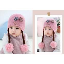 Pink Baby Flowers Knitted Pom-pom Beanie