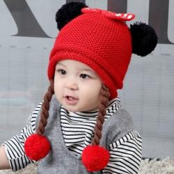 Red Baby Minnie Knitted Pom-pom Beanie