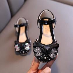 Black Big Ribbon Sparkle Shoes