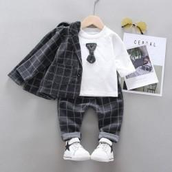 3in1 Grey Plaid Jacket White Top Set Pants