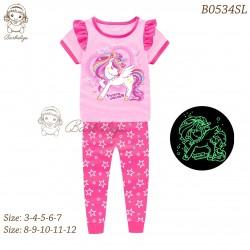 Barbieliya Pink Unicorn Ruffle Glow in the Dark Pyjamas