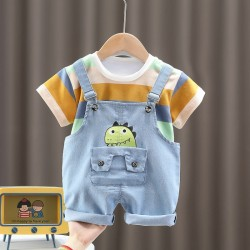 Striped Tee Set Dinosaurs Overall