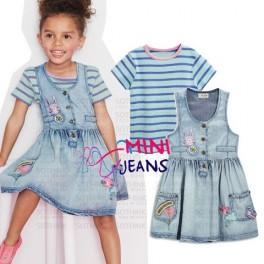 MiniJeans Bunny Dress+Stripe Tee Set
