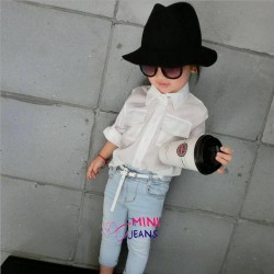 H&M White Shirt Jeans Set+Belt