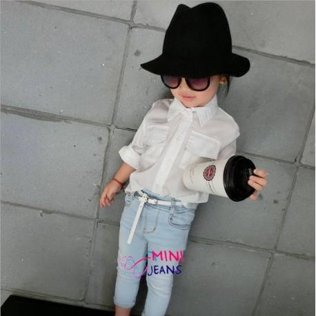 H&M White Shirt Jeans Set+Belt